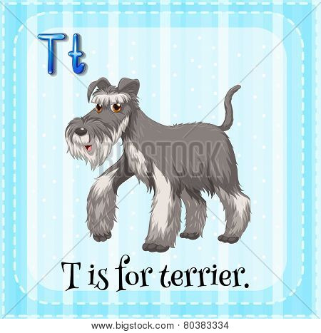 Illustration of a letter T is for terrier
