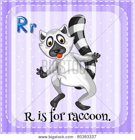 Illustration of a letter R is for raccoon