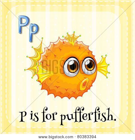 Illustration of a letter P is for pufferfish