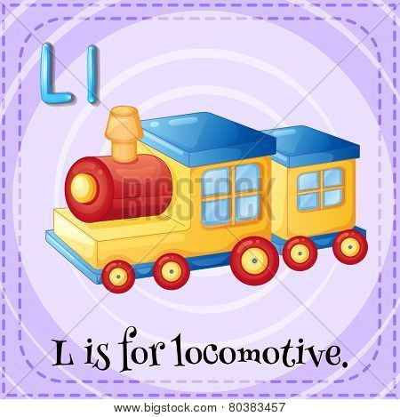 Illustration of an alphabet L is for locomotive