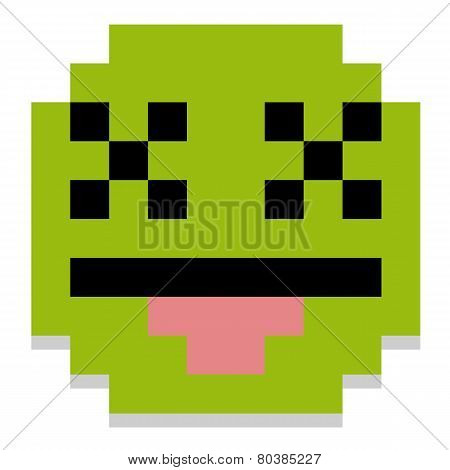 Vector Cute Cartoon Pixel Dead Face Isolated