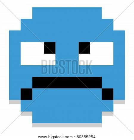 Vector Cute Cartoon Pixel Grumpy Face