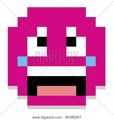 Vector Pixel Cartoon Crying Face Isolated