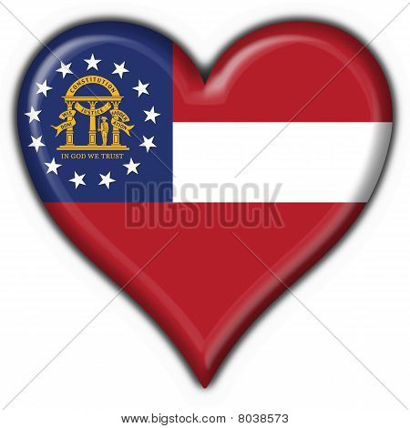 Georgia (usa State) Button Flag Heart Shape