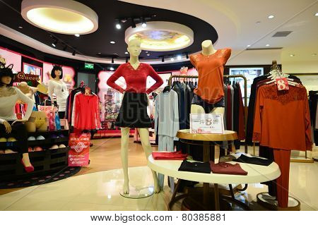 SHENZHEN, CHINA - JAN 06: shopping center interior in ShenZhen on January 06, 2015. ShenZhen is regarded as one of the most successful Special Economic Zones.