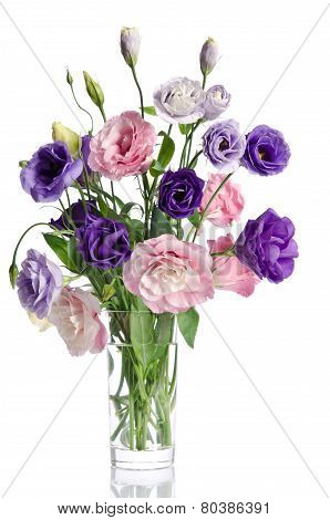 Beautiful Bouquet Of  Eustoma Flowers In Glass Vase
