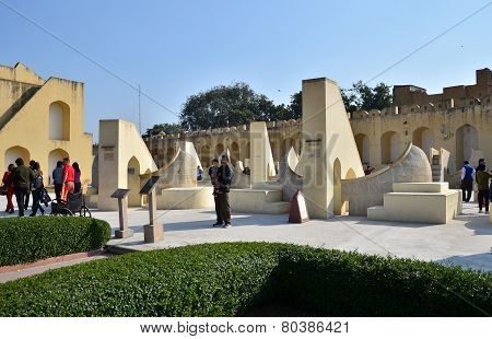 Jaipur, India - December 29, 2014: People Visit Jantar Mantar Observatory