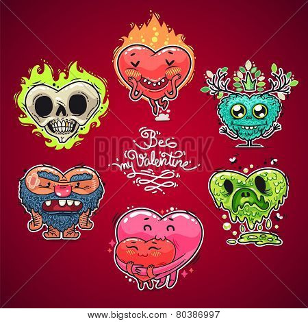 Cartoon Valentine Hearts Set