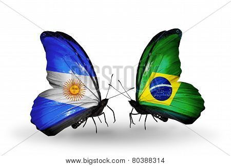 Two Butterflies With Flags On Wings As Symbol Of Relations Argentina And  Brazil