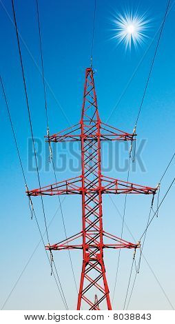 Blue Sky And Electrical Pylon.