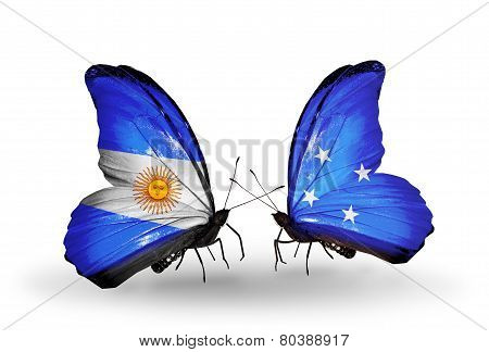 Two Butterflies With Flags On Wings As Symbol Of Relations Argentina And Micronesia
