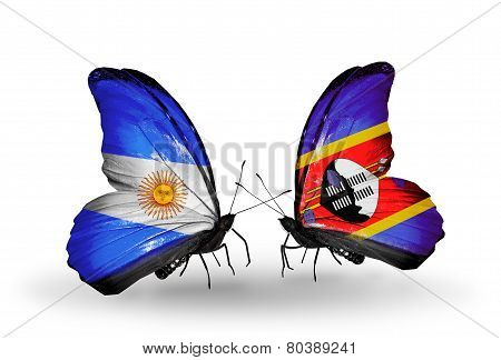 Two Butterflies With Flags On Wings As Symbol Of Relations Argentina And Swaziland