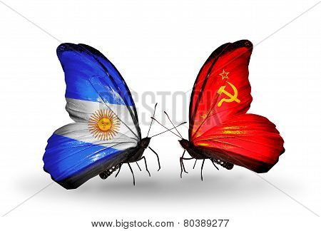 Two Butterflies With Flags On Wings As Symbol Of Relations Argentina And Soviet Union