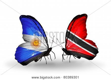 Two Butterflies With Flags On Wings As Symbol Of Relations Argentina And Trinidad And Tobago