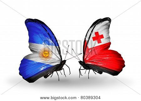 Two Butterflies With Flags On Wings As Symbol Of Relations Argentina And Tonga