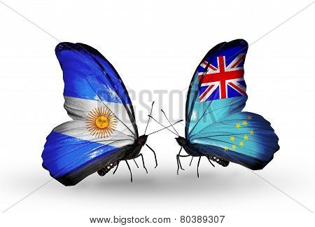 Two Butterflies With Flags On Wings As Symbol Of Relations Argentina And Tuvalu