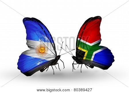 Two Butterflies With Flags On Wings As Symbol Of Relations Argentina And South Africa