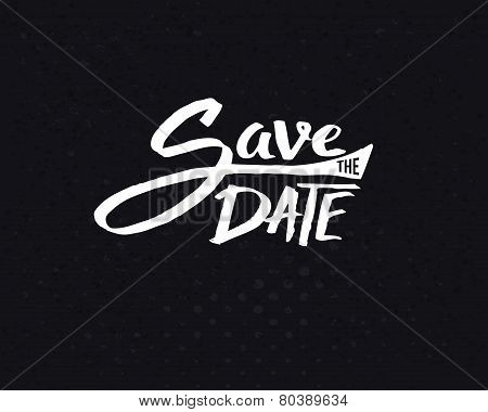White Save the Date Texts on Abstract Black