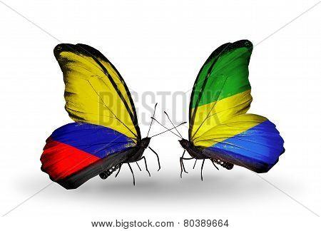 Two Butterflies With Flags On Wings As Symbol Of Relations Columbia And Gabon