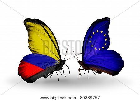 Two Butterflies With Flags On Wings As Symbol Of Relations Columbia And Eu