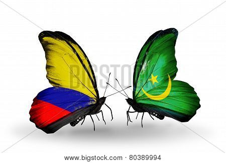Two Butterflies With Flags On Wings As Symbol Of Relations Columbia And Mauritania