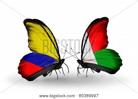 Two Butterflies With Flags On Wings As Symbol Of Relations Columbia And Madagascar