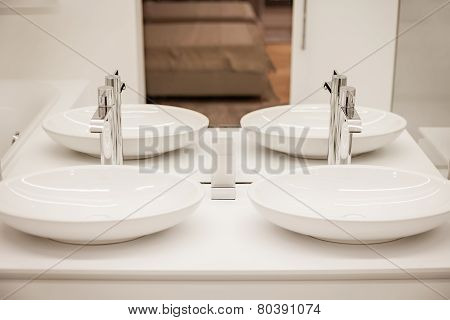 Luxury bathroom with two sinks and mirror