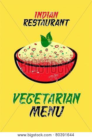 Vegetarian menu for Indian restaurant. Vector illustration. Typographic grunge design.