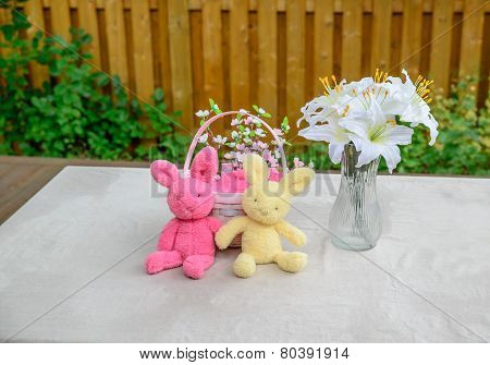 Easter Bunnies, Basket And Lilies Display