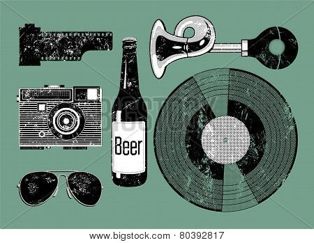 Vector grunge set of retro things for hipster.