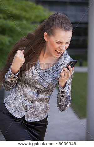 Woman Screaming On Cell Phone