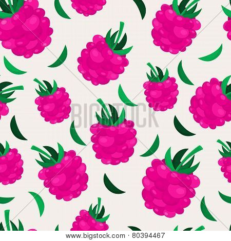 Pink Raspberry Seamless Pattern. Vector Nature Background