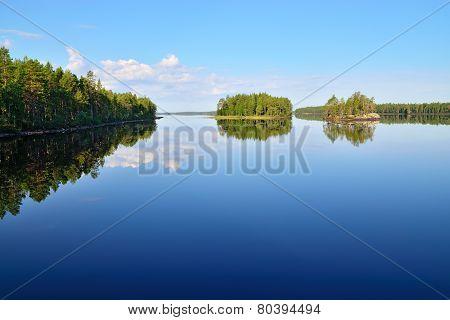 Morning Stillness. Lake Engozero, North Karelia, Russia