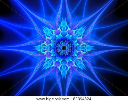 Blue Glowing Plasma Flower In Space