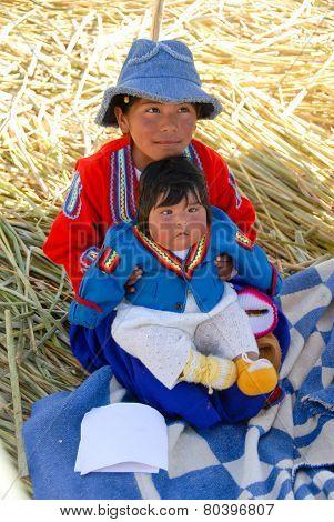 Peruvian Children Around Lake Titicaca, Peru