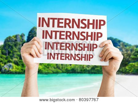 Internship card with a beach on background