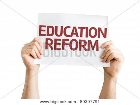 Education Reform card isolated on white background