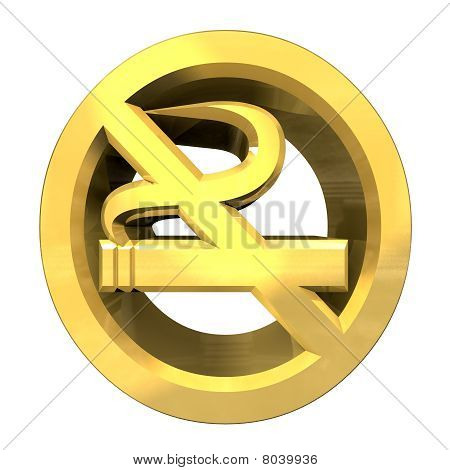 No Smoking Icon Symbol In Gold (3D)