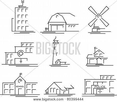 Buildings icons set