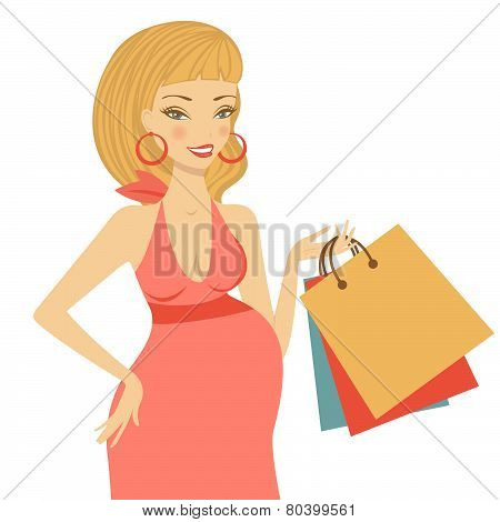Beautiful mom to be holding shopping bags