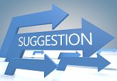 picture of suggestive  - Suggestion render concept with blue arrows on a bluegrey background - JPG
