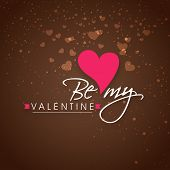 image of corazon  - Beautiful greeting card design with text Be My Valentine on hearts decorated brown background - JPG