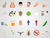 image of dust mites  - Set of icons of allergy in a flat design  - JPG