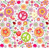 stock photo of hippy  - Childish hippie wallpaper - JPG