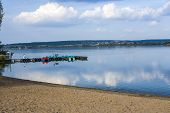 stock photo of bavaria  - beautiful beach at altmuehl lake in Bavaria - JPG
