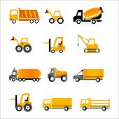 pic of lift truck  - Set of truck orange icons - JPG