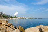 stock photo of nea  - Greece Halkidiki Nea Kallikratia views of the coast from the old pier - JPG