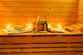 picture of sauna  - interior of a wooden sauna with sauna accessories - JPG