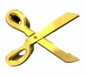 Photo of scissor in gold - 3d.