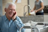 picture of elderly  - Elderly sick man talking the mobile phone - JPG
